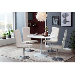 SalesFever Esstisch, Tischplatte in Marmoroptik weiß