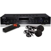 etc-shop 240 W Verstärker Party USB Receiver AUX Musik Anlage Bluetooth MP3 im Set mit zwei Mikrofonen