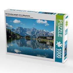 Die Dolomiten spiegeln sich im Misurinasee Lege-Größe 64 x 48 cm Foto-Puzzle Bild von Sascha Ferrari Puzzle