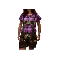 Engelleiter Trachtenlederhose Damen Ledershort braun (verstellbare Träger, abnehmbare Träger) 34