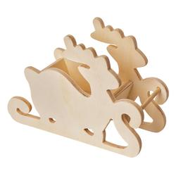 VBS Dekofigur Holzschlitten Rentier, 18 cm x 12,5 cm x 7 cm