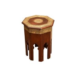 Casa Moro Beistelltisch Orientalischer Couchtisch Meena Ø 40cm aus Massivholz mit Messing verziert, achteckig, Handmade Beistelltisch Vintage Sofatisch, MA79-25, marokkanischer Stil
