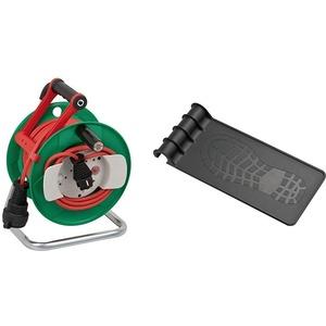 Brennenstuhl Garant G IP44 Gartenkabeltrommel (Kabeltrommel für Rasenmäher mit 23+2m Kabel in rot, Spezialkunststoff) & Trommeltritt (geeignet für einen Trommel-Ø von 240/290) schwarz