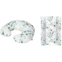 Rotho Babydesign Wickelauflage Natural Leaves (Set, 2-tlg), in Keilform; inklusive Stillkissen Mini; Made in Europe