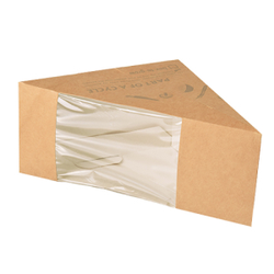 Papstar Pure Sandwichboxen, Pappe, Sandwichbox mit Sichtfenster aus PLA, 1 Packung = 50 Stück, für 3 Scheiben