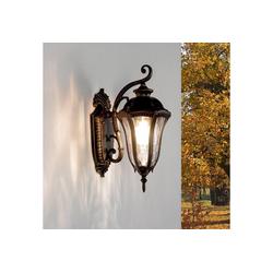 Licht-Erlebnisse Außen-Stehlampe FLORENZ Außenwandlampe Rustikal IP44 Ornamentglas