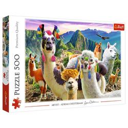 Trefl Puzzle Trefl 37383 Lamas in den Bergen 500 Teile Puzzle, 500 Puzzleteile