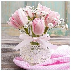 Linoows Papierserviette 20 Servietten, Romantischer Blumenstrauß mit Rosa, Motiv Romantischer Blumenstrauß mit Rosa Tulpen