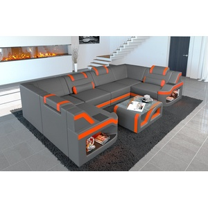 Sofa Dreams Wohnlandschaft Padua, U Form Ledersofa mit LED, wahlweise mit Bettfunktion als Schlafsofa, Designersofa