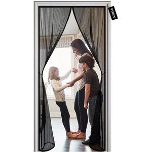 Fliegengitter Balkontür, 85 x 265 cm , Der Magnetvorhang ist Ideal für die Balkontür, Kellertür und Terrassentür, Kinderleichte Klebemontage Ohne Bohren - Schwarz