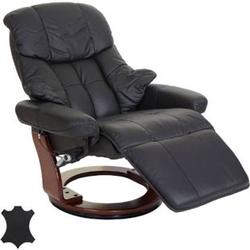 MCA Relaxsessel Windsor 2, Fernsehsessel Sessel, Echtleder 150kg belastbar ~ schwarz, Walnuss-Optik