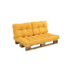 en.casa Bankauflage, Euro Palettenkissen Auflage Comfy gelb 40 cm x 60 cm x 12 cm