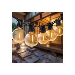 Elegear Lichterkette, LED Lichterkette Außen, 12,2 M Lichterkette Glühbirne 30 Glühbirnen mit 3 Ersatzbirnen G40 IP65 WASSERDICHT Lichterkette Warmweiß Innen/Außen Lichterkette Dekobeleuchtung für Garten Terrasse 3 m