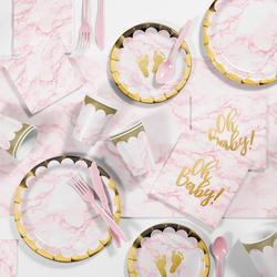 Marble Baby Shower Deluxe Party Supplies Kit Pink