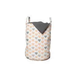 Abakuhaus Wäschesack Wäschekorb mit Griffen Kordelzugverschluss für Waschsalons, Abstrakt Pastellkristalldiamanten grau