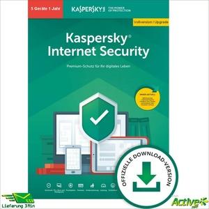 Kaspersky Internet Security 2021 5 PC 1Jahr VOLLVERSION / Upgrade 2020 DE-Lizenz