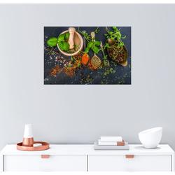 Posterlounge Wandbild, Mörser mit Kräutern und Gewürzen 100 cm x 70 cm