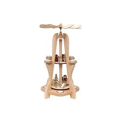 SIGRO Weihnachtspyramide Holz Tischpyramide Eulenwald, 8 Teelichter