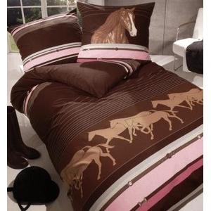 Pferde Bettwäsche Mako Satin Pferde im Galopp braun 135x200+80x80 cm