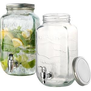 2er-Set Retro-Getränkespender aus Glas, Einmachglas-Look, Zapfhahn