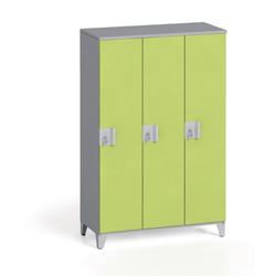 Dreiteiliger kleiderschrank 1400 x 900 x 400 mm, grau/grün