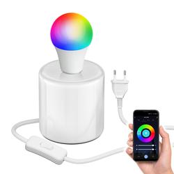 Tischlampe TIPO Porzellan rund weiß inkl. E27 Smart Home RGBW LED Lampe, 9W=73W, 1000lm