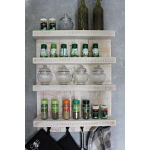 Dekorie Gewürzregal aus Holz für die Wand - Vintage Weiß - 4 Stellflächen - 65 x 50 x 12 cm - Massivholz