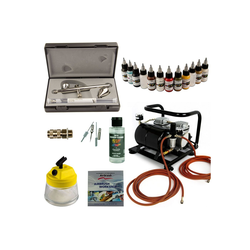 Airbrush-City Druckluftwerkzeug Airbrush Set Modellbau - Ultra Two in One + Sparmax AC-500 Kompressor - Kit 9005, (1-St)