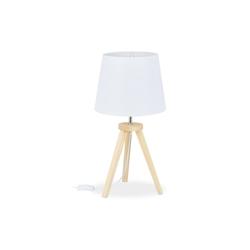 relaxdays Nachttischlampe Tischlampe Dreibein Holz/Weiß