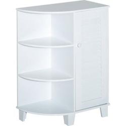 HOMCOM Badschrank im klassischen Design weiß 60 x 30 x 80 cm (LxBxH)   Standschrank Eckschrank Badregal Badezimmerschrank