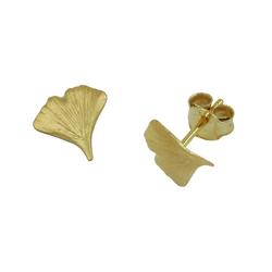 Gallay Paar Ohrstecker Stecker 9mm Ginkgoblatt matt 9Kt GOLD (inkl. Schmuckbox), Goldschmuck für Damen