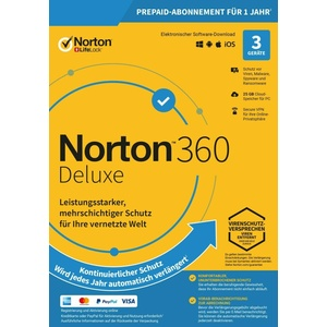 Symantec NORTON 360 Deluxe (3 Device - 1 Jahr) ABO inkl. 25GB WIN/MAC/Android