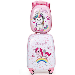 COSTWAY Kinderkoffer Kinder Kofferset, Handgepäck, Reisegepäck, 2tlg Kinderkoffer + Rucksack
