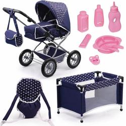 Bayer Kombi-Puppenwagen Grande, Blau/Weiß, (Set), mit Puppenbett und Puppenzubehör
