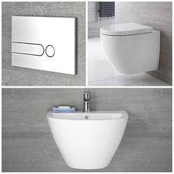 Wandwaschbecken & Wand-WC Randlos Gäste WC Set inkl. Spülkasten - Ashbury, von Hudson Reed