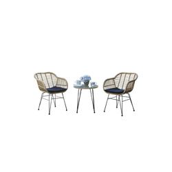 HTI-Line Sitzgruppe Terrassenmöbel Ibiza, (2x Stühle, 1x Tisch, inkl. Auflagen, 3-tlg), Terrassenmöbel