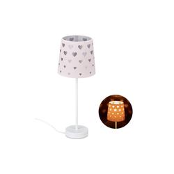 relaxdays Nachttischlampe Nachttischlampe Kinder mit Herzen