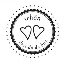Hochzeitsstempel – Schön, dass Du da bist - Herzen (Ø 50 mm)