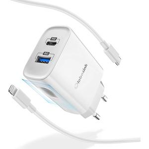 GlobaLink iPhone Schnellladegerät 18W, 2 Port USB C Ladegerät mit 2m Typ C auf Lightning Kabel [MFi Zertifiziert] kompatibel mit iPhone 12/12Max/Pro/Mini/11/SE 2020/8/X XR XS, iPad Pro