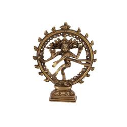 Guru-Shop Dekofigur Messingfigur, Statue Shiva im Feuerkranz 17 cm..