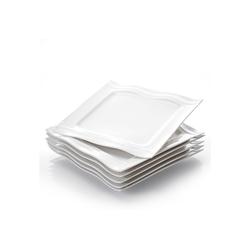 MALACASA Kombiservice MARIO (6-tlg), Porzellan, mikrowellengeeignet 6-tlg. Dessertteller aus Porzellan