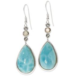 Adelia´s Paar Ohrhänger Larimar Ohrhänger Ohrringe 925 Silber