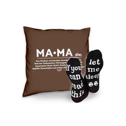 Soreso® Dekokissen Kissen Mama & Sprüche Socken Sleep, Muttertagsgeschenk Mama Muttertag braun