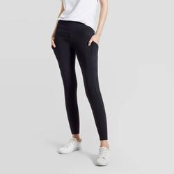 Hue Studio Women's Mid-Rise Cotton Comfort Cell Phone Side Pocket Leggings - Black XXL
