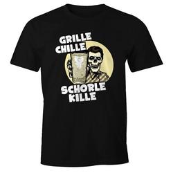 MoonWorks Print-Shirt Herren T-Shirt Grille Chille Schorle kille Spruch Skull Dubbeglas Fun-Shirt Moonworks® mit Print S