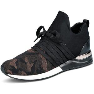 La Strada 1804189 Bronze Camou Damen Sneaker Slipper mit Schnürung und Schlupf, Groesse 38, schwarz/Camouflage