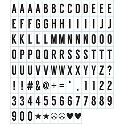 100-tlg. Buchstaben- & Symbol-Set f. Leuchtkästen, schwarz, 7 x 3,5 cm