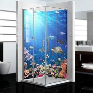 dedeco Eck-Duschrückwand wasserfest mit Ozean V2 Motiv UV-Lack matt - 2 x 90x200 cm, als Badrückwand zum Fliesenersatz, als Dekorwand, Wandverkleidung und Duschplatte aus Aluminium - Made in Germany