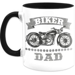 Shirtracer Tasse Biker Dad Vintage - Vatertagsgeschenk Tasse - Tasse zweifarbig, Keramik