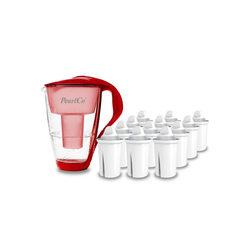 PearlCo Wasserfilter Glas Inkl. 12 Filterkartuschen rot